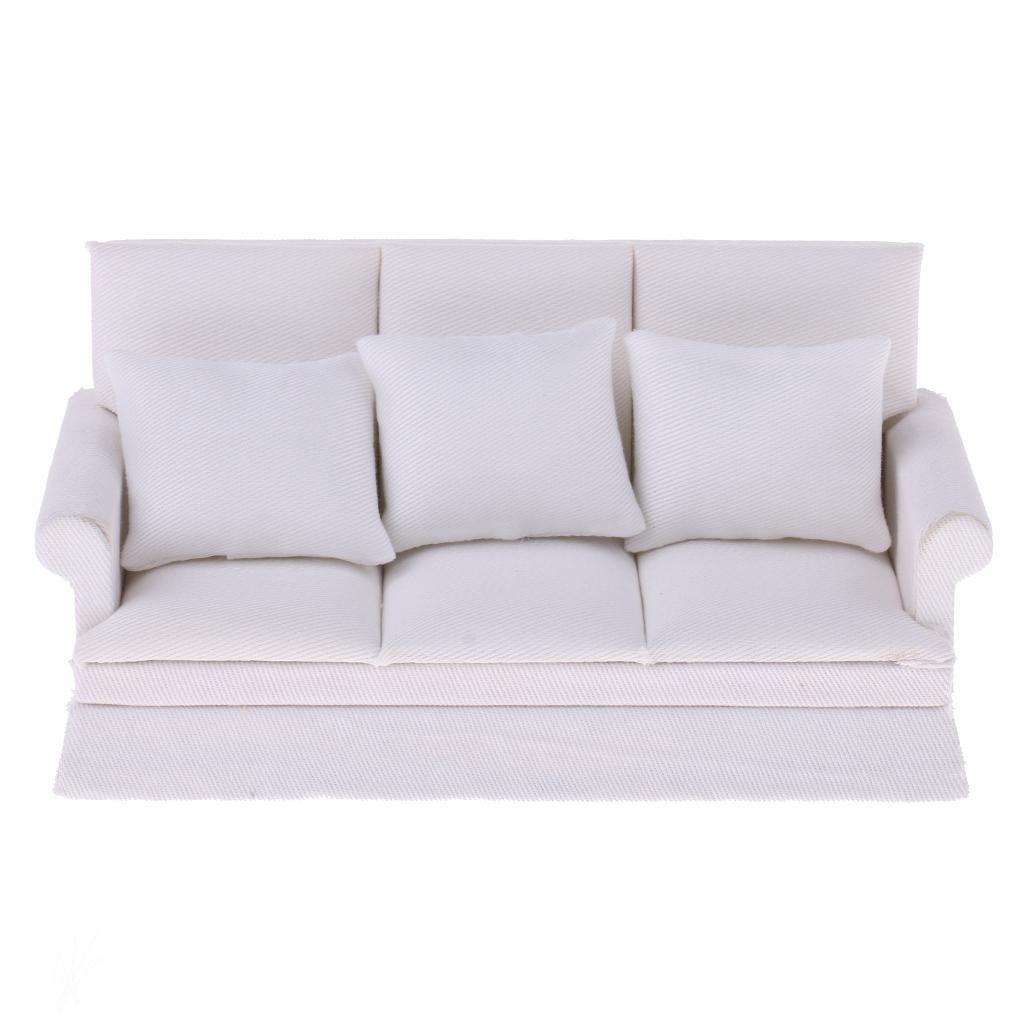 XZANTE 1:12 Maison de Poupee Meubles Miniatures Ensemble d'oreiller de canape a Trois Places Blanc