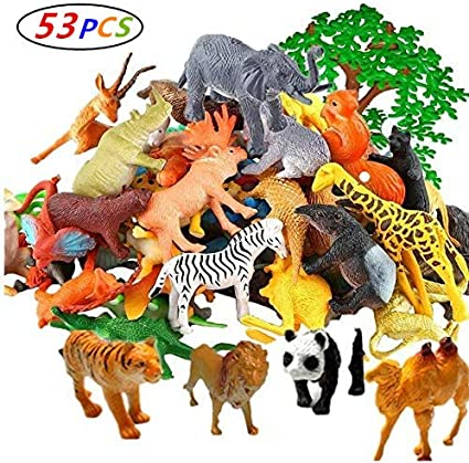 54 Pcs Mini Jungle Wild and Farm Animals Toys Figures Set Zoo World for Kids