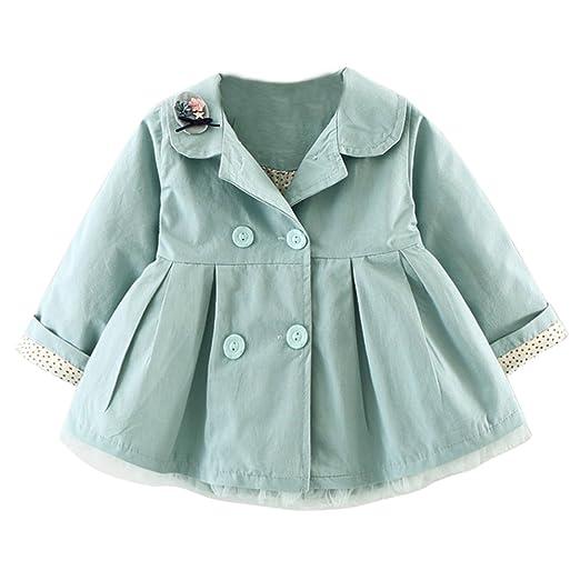 8dfa32f82 Amazon.com  JIANLANPTT Girls Trench Coat Cartoon Lapel Collar ...