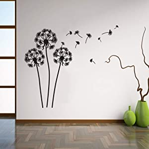 Wall Decal Flying Dandelion Plant Vinyl Wall Stickers Home Living Room Decor Kids Nursery Room Removable Wall Art Mural AY015 (Black)