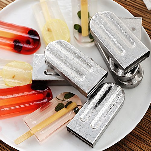 Stainless Steel Popsicle Mold and Rack Homemade Frozen Treat Maker for  Toddlers Kids Adults - Set of 6 Ice Pop Maker with 50 Reusable Bamboo  Sticks 10