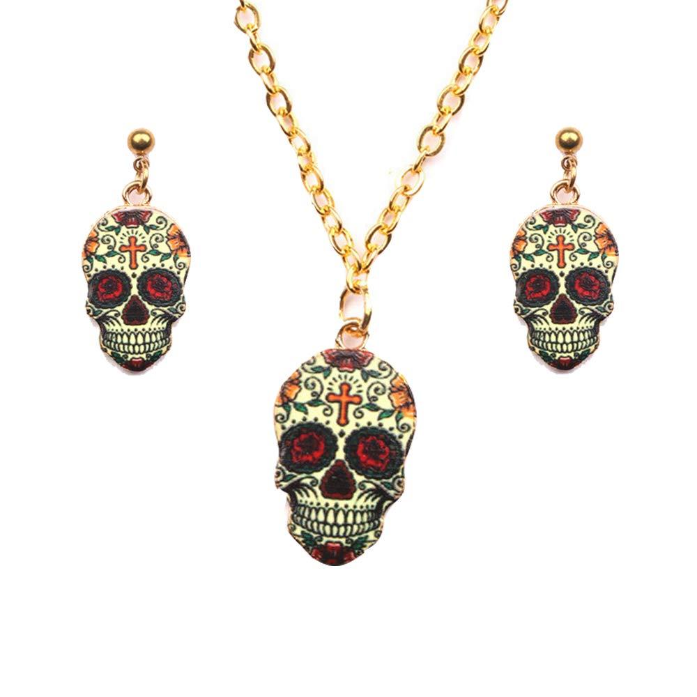Cleacloud Dangle Drop Skull Cool Stud Earrings Necklace Set Women Halloween Vintage Colors Enamel Pattern Costume Girl Resin Charms Jewelry