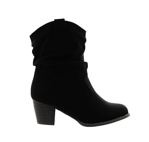 Mujer Botines Cowboy Western Botas Boots Avispas Botas Zapatos 37, Color Negro, Talla 41 EU: Amazon.es: Zapatos y complementos