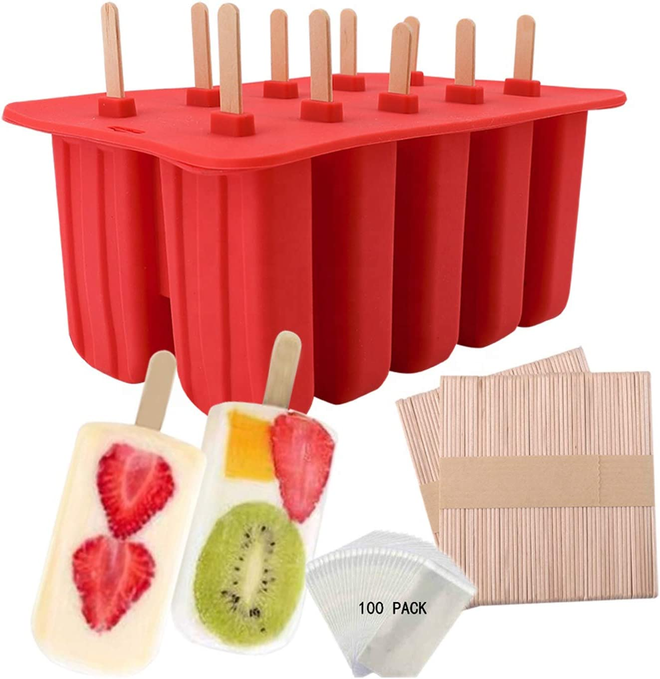 Waybesty 10 Cavities Homemade Popsicle Molds Shapes, Food Grade Silicone Frozen Ice Popsicle Maker-BPA Free, Contain 50 Popsicle Sticks, 50 Popsicle Bags