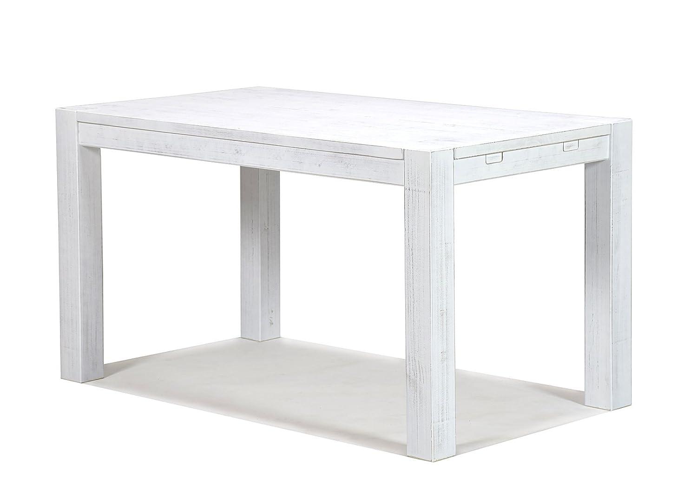 Esstisch Rio Bonito 120x80cm, Pinie Shabby Weiß, Massivholztisch Weiss, Vintage Used- Look für Esszimmer Wohnzimmer Büro oder Küche