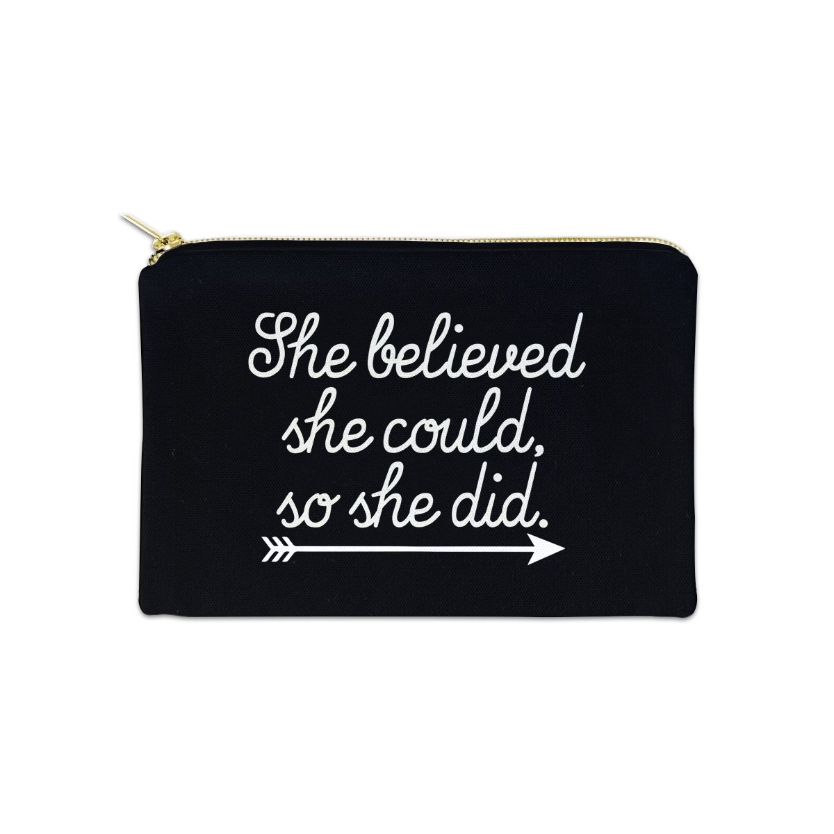 She Believed She Could So She Did 12 oz Cosmetic Makeup Cotton Canvas Bag - (Black Canvas)