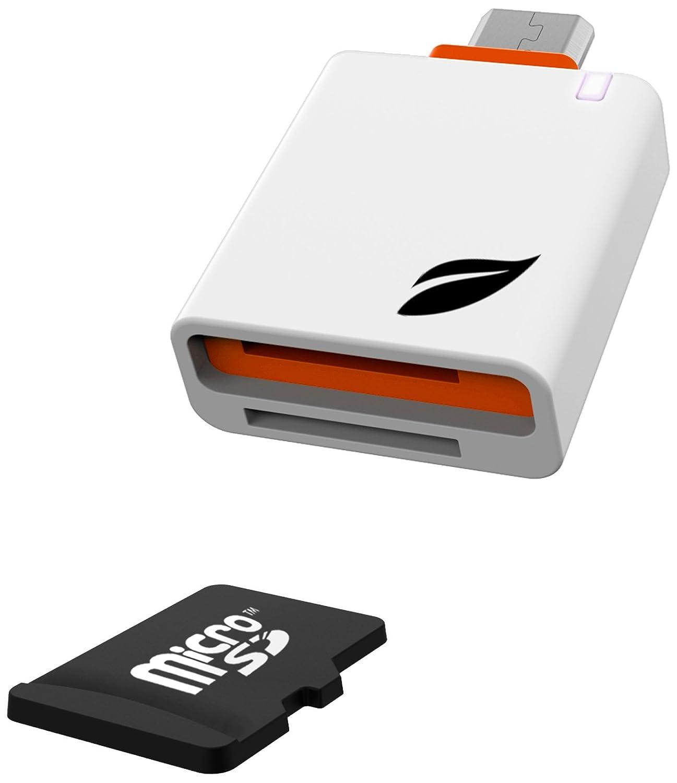 Leef Lettore MicroSD per Dispositivi Android, Connettore Micro USB, Slot per Conservare Una MicroSD Aggiuntiva, Access Mobile, Bianco/Arancio LACM0WN00E6 LeefLettoremicroSD LettoreschedemicroSD