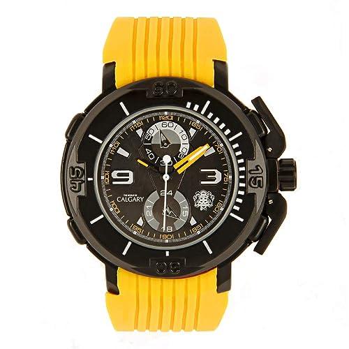 Relojes Calgary New Mugello. Reloj Deportivo para Hombre, Correa de Caucho Amarillo, Esfera Color Negro: Amazon.es: Zapatos y complementos
