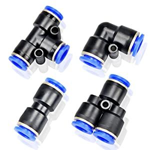 Tailonz Pneumatic 1/4 Inch od Push to Connect Fittings Pneumatic Fittings Kit 10 Spliters+10 Elbows+10 tee+10 Straight (40 pcs)