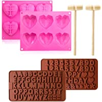 Heart Silicone Mould,Premium Hearts Sweet Moulds with wooden hammers for Baking,Making Mother's Day Easter DIY Gift…