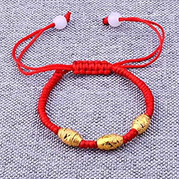 Alluvial Gold Braided Red String Bracelet Benming Transfer Beads