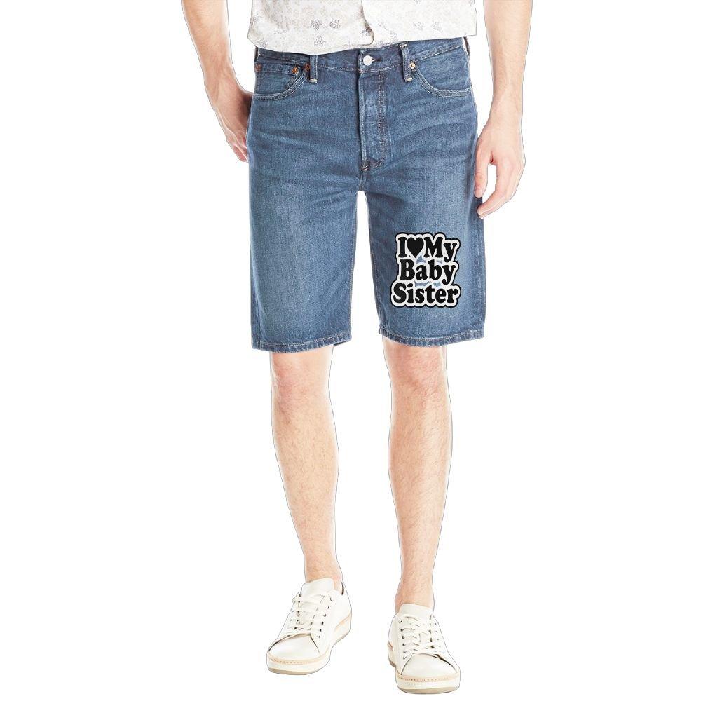 Achunlan I Love My Baby Sister. Mens Casual Short Denim Jean Pants Cool Casual Jeans Trousers RoyalBlue