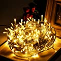 Uping 100 LED String Lights   39 ft with 8 Modes Starry Lights   DC 24V Low Voltage Transformer Suitable for Indoor, Outdoor, Party, Garden, Christmas   warm white