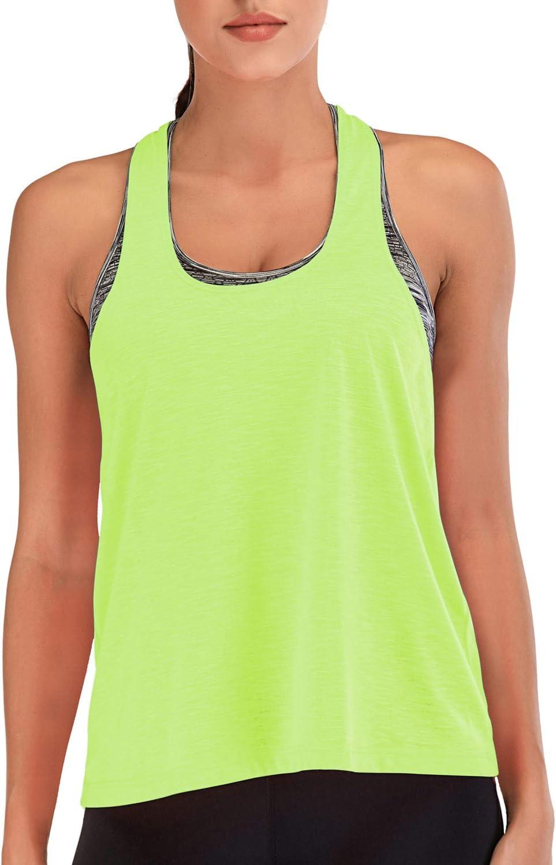 Camicie da Palestra Canotta da Corsa Canotte da Yoga per Atletica Canotta da Donna Senza Maniche Girocollo con Scollo allAmericana N/&A Canotte da Allenamento per Donna