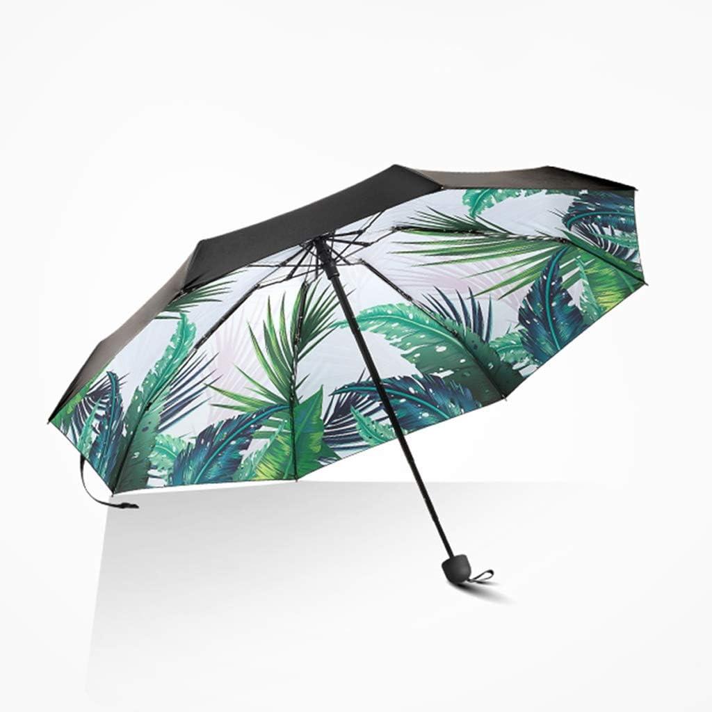 Windproof Umbrella 8 Bone Umbrella Frame Sunshade UV Rain and Rain Dual-use Ultra-Easy Folding Mini Five-fold Umbrella Color : B