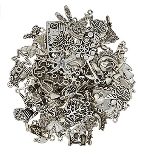 Craft Supplies (eCrafty EC-5655 100-Piece Silver Pewter Charms Pendants Mega Mix DIY for Jewelry Making and)