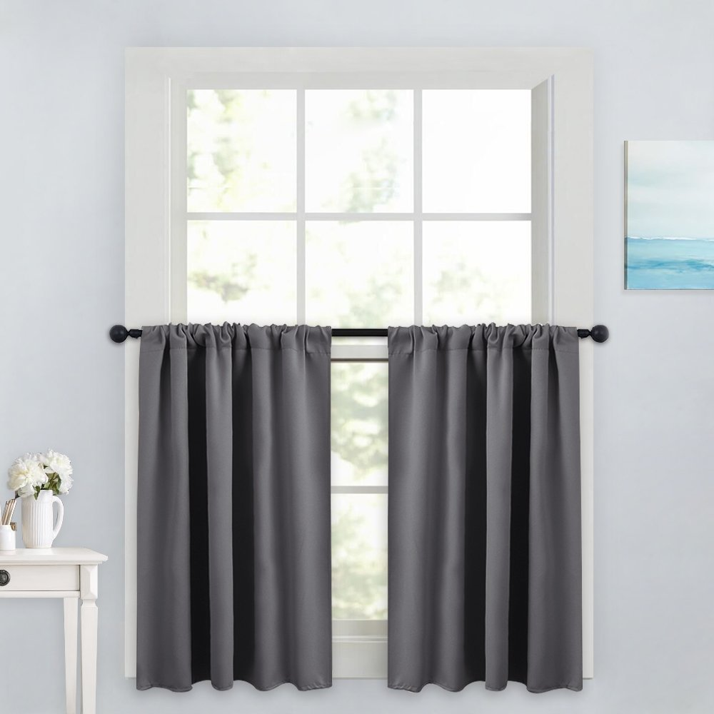 "PONY DANCE Gray Curtain Tier - Rod Pocket Blackout Panels Window Treatments Small Curtains Tailored Tiers/Valances for Kitchen, W 42"" x L 36"", Grey, 2 Pieces"