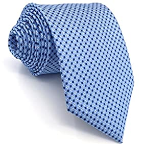 Shlax&Wing Mens Ties Blue Dots Business Necktie Silk Suit For Men