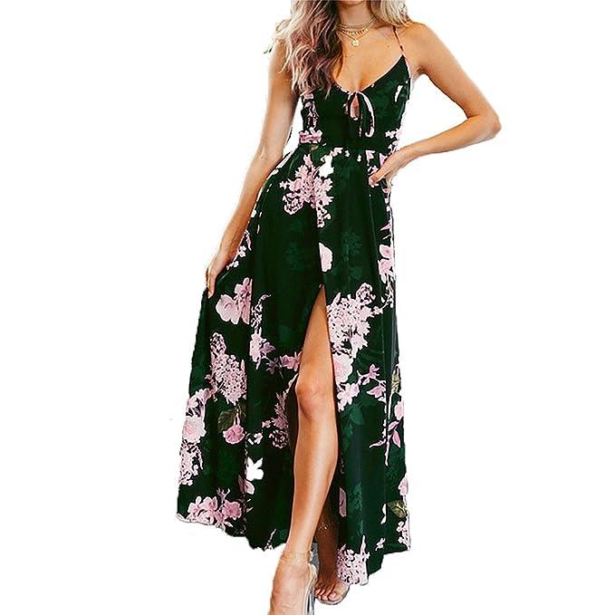 Vestido de mujer, Lananas 2018 Mujer Boho Verano Sin mangas Encajes Escotado por detrás Hojas verde oscuro Rosa floral Impresión División Largo Maxi ...
