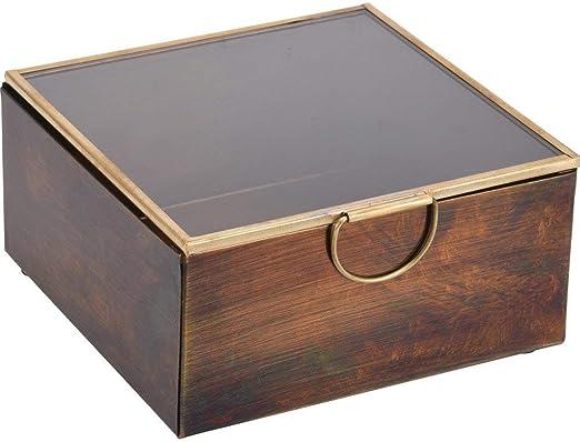 Home @ Styling Collection - Caja de Madera con Tapa de Cristal, 13x13x6 cm: Amazon.es: Juguetes y juegos