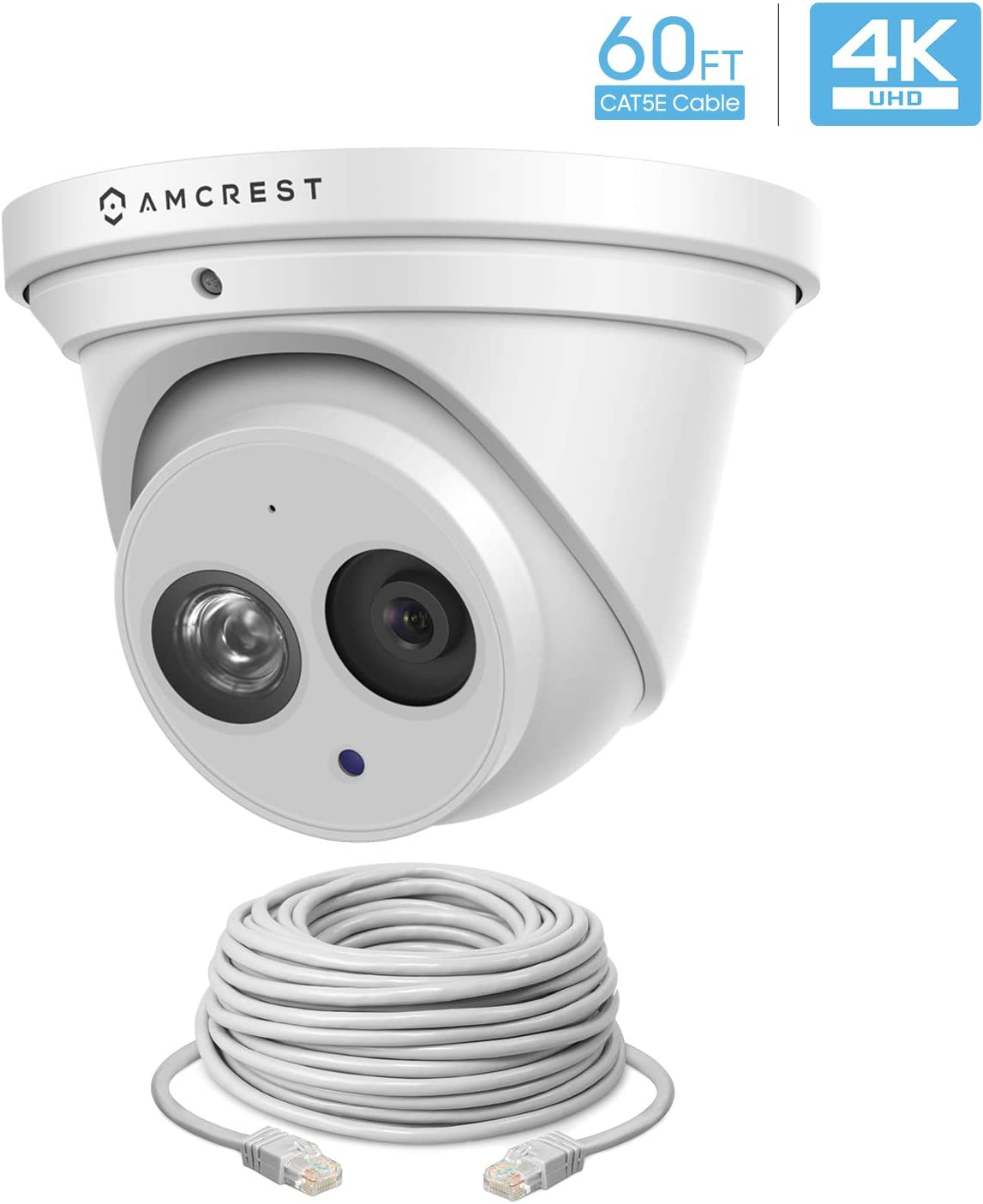 Amcrest UltraHD 4K Outdoor Security IP Turret PoE Camera, 164ft NightVision, 2.8mm Lens, IP67 Weatherproof, MicroSD Recording 128GB , Cat5 60 Foot Ethernet Cable IP8M-T2499EW-28MM-CAT5ECABLE60