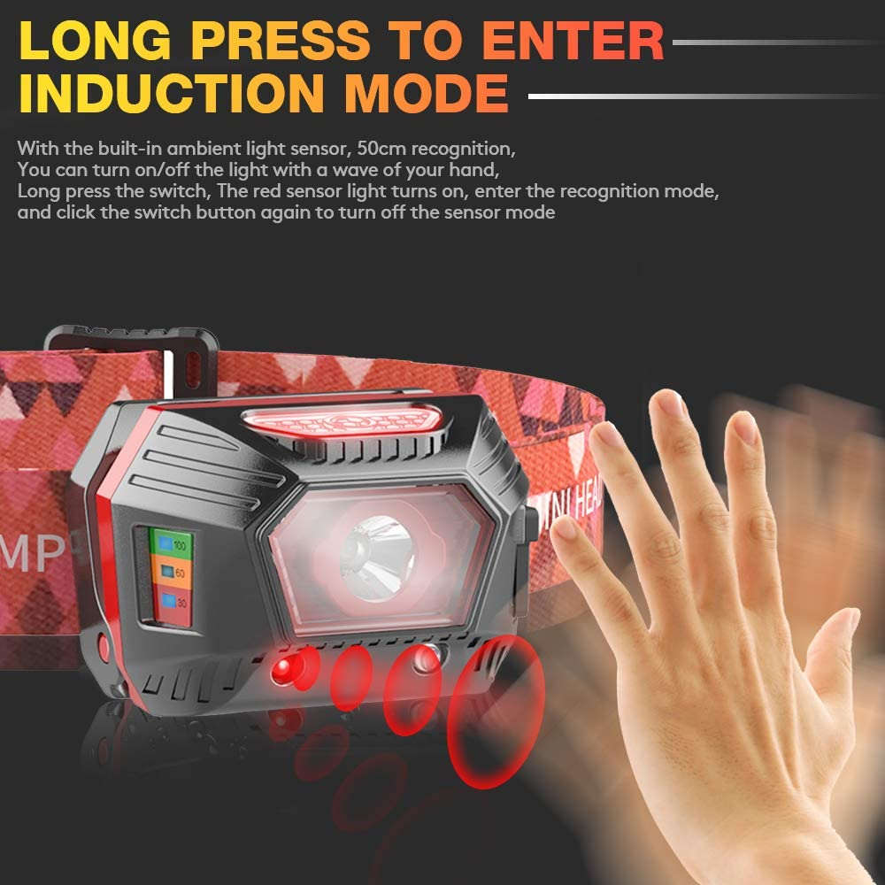 120 Lumen Head Lamp 3 Modes Camping Running Fishing Hiking for Adult 1 PACK 1.5OZ LETOUR LED Headlamp Gesture Sensing USB Rechargeable Built-in Battery Headlight Outdoor IP45 Waterproof Lightweight