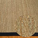 NaturalAreaRugs Mayfair Area Rug Natural Seagrass Hand-Crafted Black Wide Canvas Border, 3' x 5'