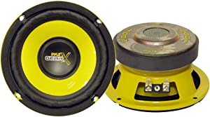 "Pyle Car Mid Bass Speaker System - Pro 5 Inch 200 Watt 4 Ohm Auto Mid-Bass Component Poly Woofer Audio Sound Speakers For Car Stereo w/ 30 Oz Magnet Structure, 2.2"" Mount Depth Fits OEM - PLG54, Yellow"
