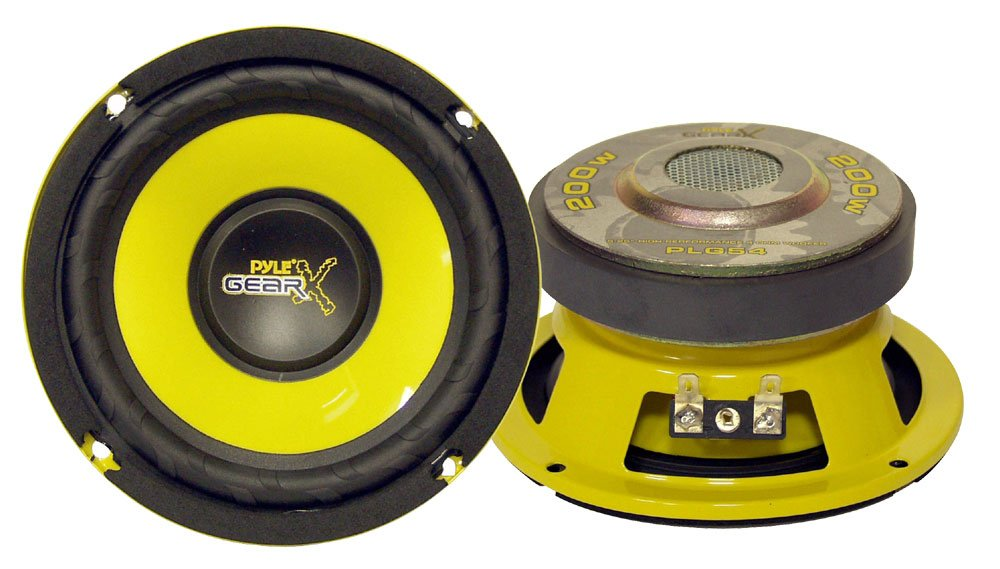 "Car Mid Bass Speaker System - Pro 5 Inch 200 Watt 4 Ohm Auto Mid-Bass Component Poly Woofer Audio Sound Speakers For Car Stereo w/ 30 Oz Magnet Structure, 2.2"" Mount Depth Fits OEM - Pyle PLG54"