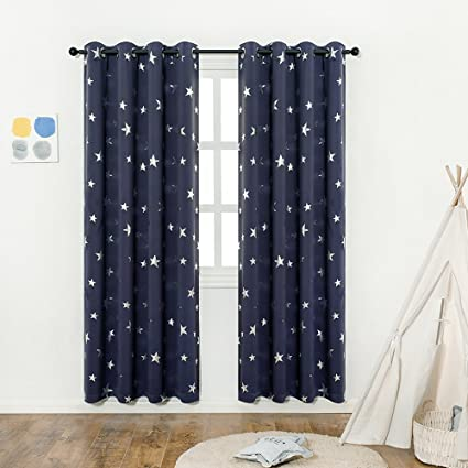 [EASTER DAY]Navy Blue Star Print Kids Room Curtains (2 Panels),