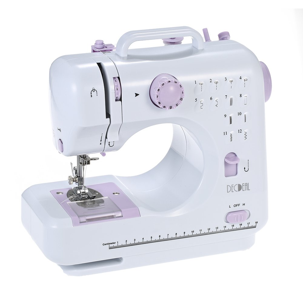 Decdeal Overlock Electric Sewing Machine with 2 Speed 12 Built-in Stitch Patterns