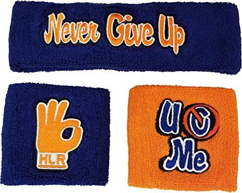 John Cena Headband Wristband Sweatband Set Choice of Color-Blue/Orange by WWE