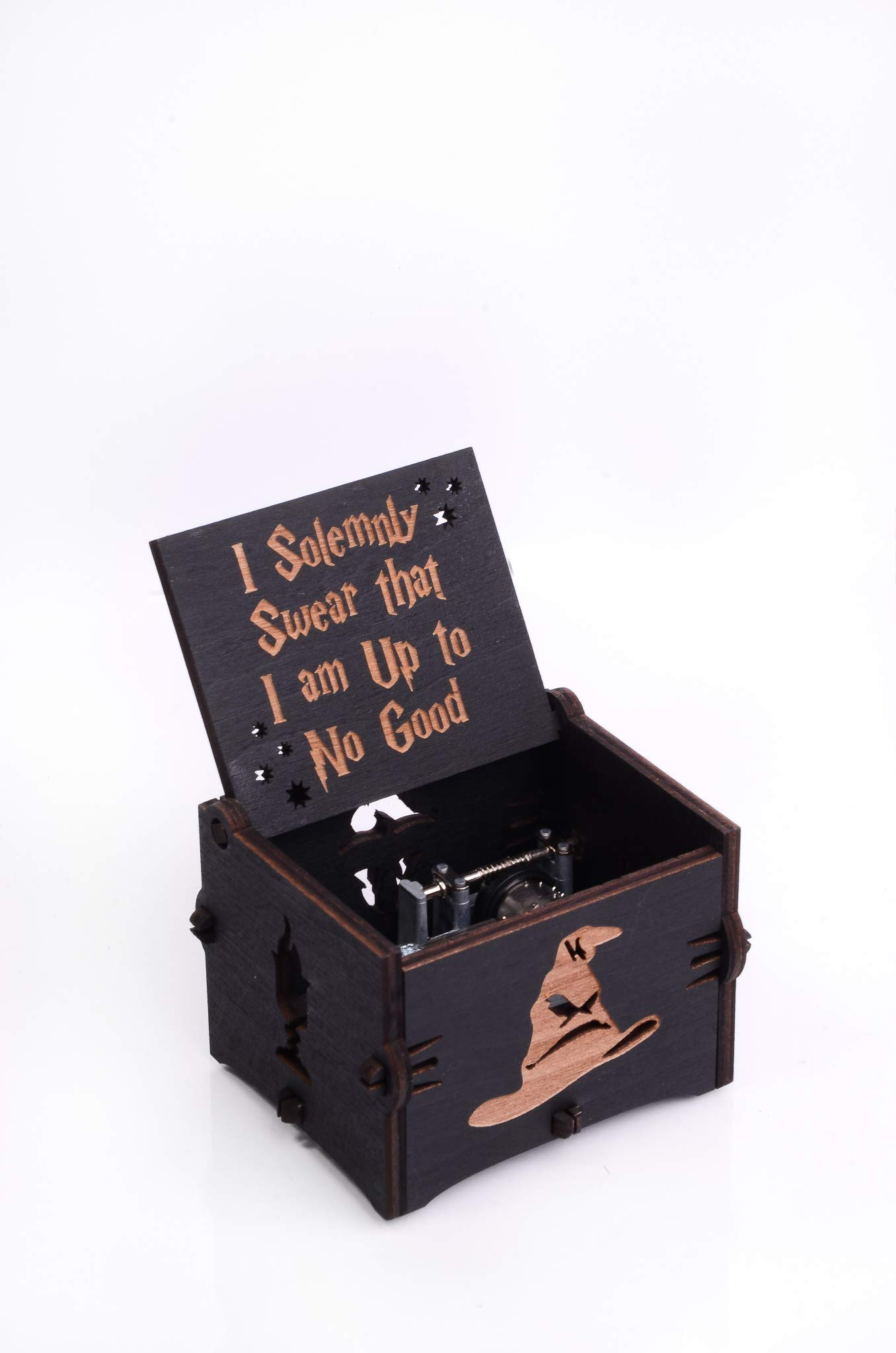 Enjoy The Wood Hedwig's Theme Music Box Wooden Gift Magic Hand Cranked Movement