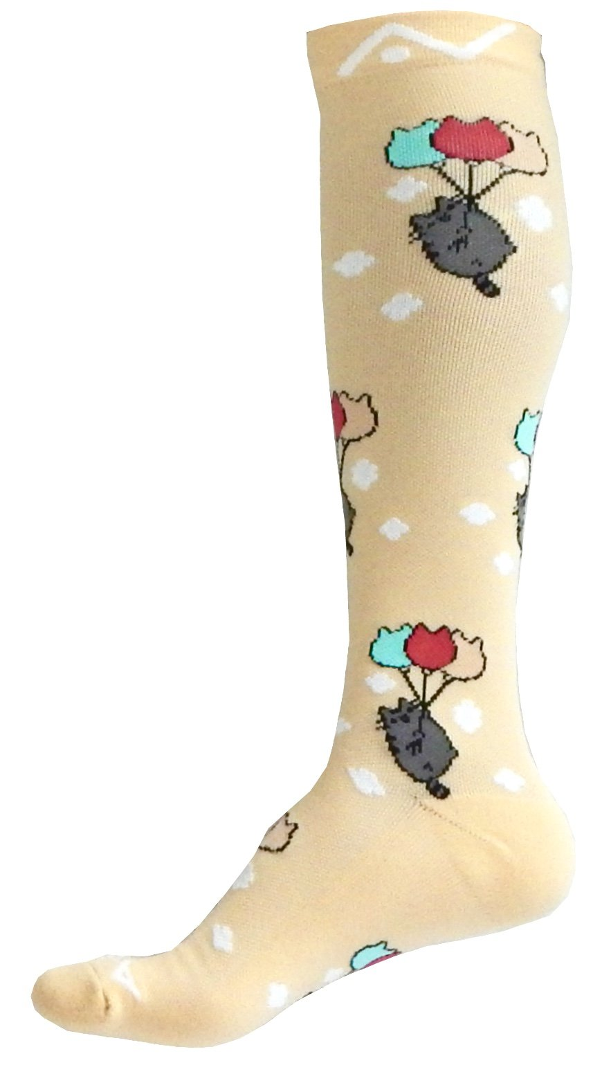 A-Swift Compression Socks (1 Pair) for Women & Men Best for Running, Athletic Sports, Crossfit, Flight Travel - Suits Nurses, Maternity Pregnancy - Below Knee High (Kawaii Cats, Large)