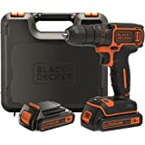 BLACK+DECKER BDCDC18KB-QW - Taladro atornillador 18V, con 2 baterías de litio 18V (1.5Ah) y maletín