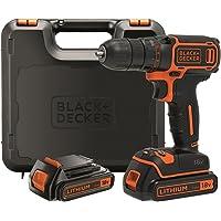 BLACK +DECKER BDCDC18KB-QW Trapano Avvitatore, con Doppia Batteria al Litio, 18 V, 1.5 Ah, Valigetta, Arancione