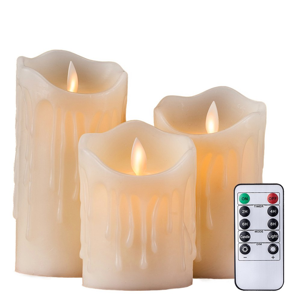 Realistic Flameless Led Ivory Pillar Candle Set Of 3 With