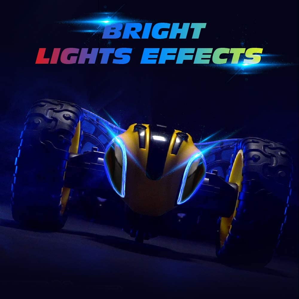 Remote Control RC Stunt Cars Toys for Kids,1 8 Rotating 360/°Flips 2.4Ghz Electric Rechargable Radio Controlled Race Car with Color Headlights for 5 6 7 8 9 10 12 Years Old Boys Girls