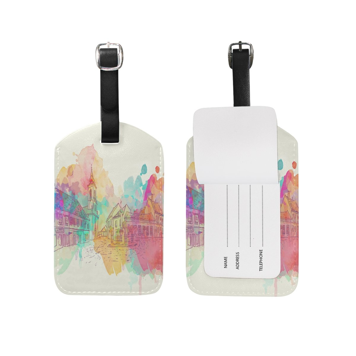 Saobao Travel Luggage Tag Colorful Building PU Leather Baggage Suitcase Travel ID Bag Tag 1Pcs