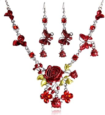orecchini Collana Moda,KEATTL Collana Orecchini Diamanti Donne eleganti Gioielli Set di collana pendente in cristallo
