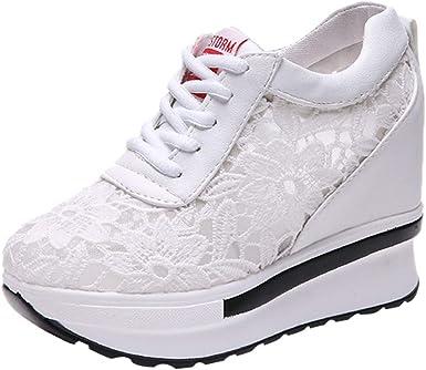 beautyjourney Zapatillas de Plataforma de Malla para Mujer Zapatos ...
