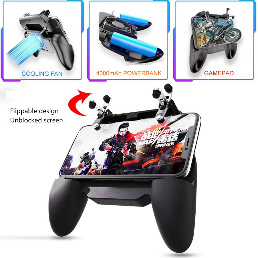 YZmoffer Mobile Game Controller Gamingpad with 4000mAh Power Bank Cooling Fan
