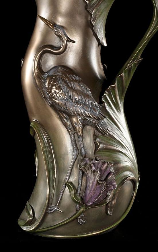 Art Nouveau Veronese Fischreiher Deko Jugendstil Vase mit Reiher