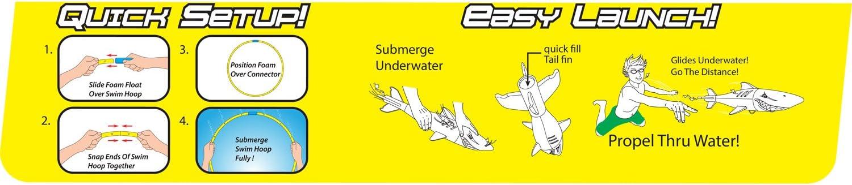 Hoop Floats Upright Underwater Sharkpedo Torpedo Swim Hoop Throw Shark Like A Dart Quick Setup /& Easy Launch! 28 Inches Wide Swim Thru Hoop Swims Like A Shark