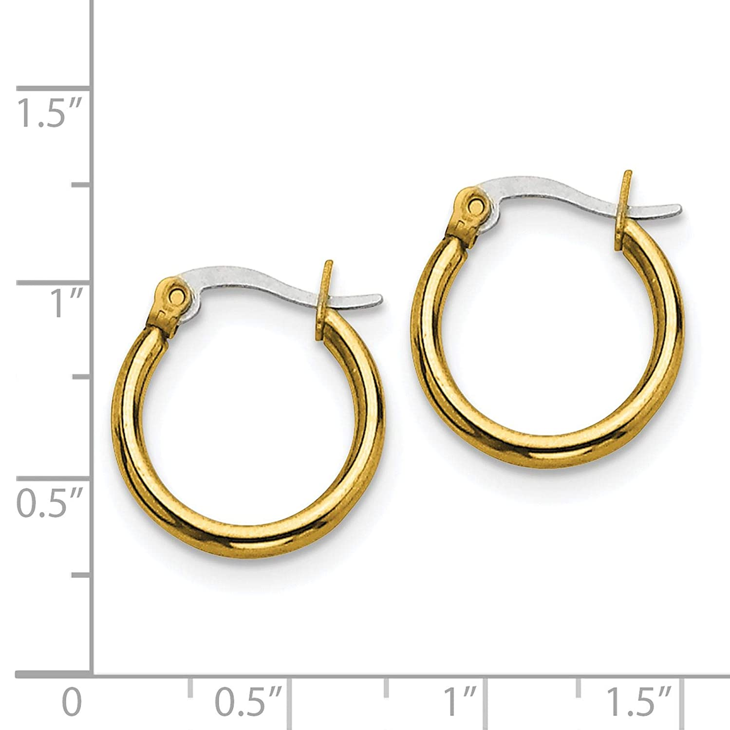 Stainless Steel Yellow IP-plated Polished Round Hinged Hoop Earrings 2mm x 19mm