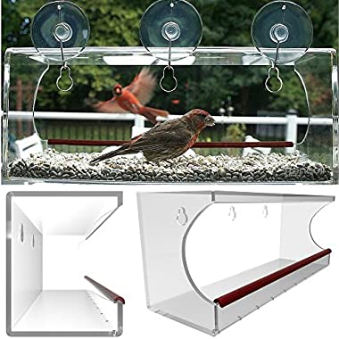 Large Clear Window Mounted Bird Feeder, See Through Acrylic Design Provides A Unique In House Birding Experience, 3 Heavy Duty Suction Cups with Hooks Mount to Glass for Effortless Installation and Refilling, Best Gift Idea for Bird Lovers & Cats!
