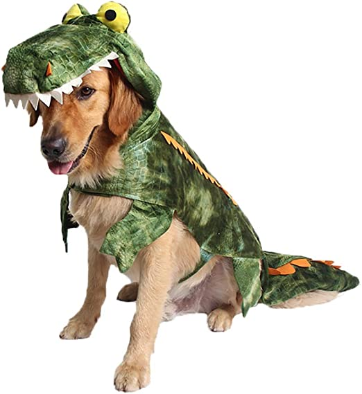 Amazon Com Coppthinktu Alligator Dog Costume Halloween Dog Crocodile Costume Hoodie Coats Pets Jumpsuits Pet Supplies