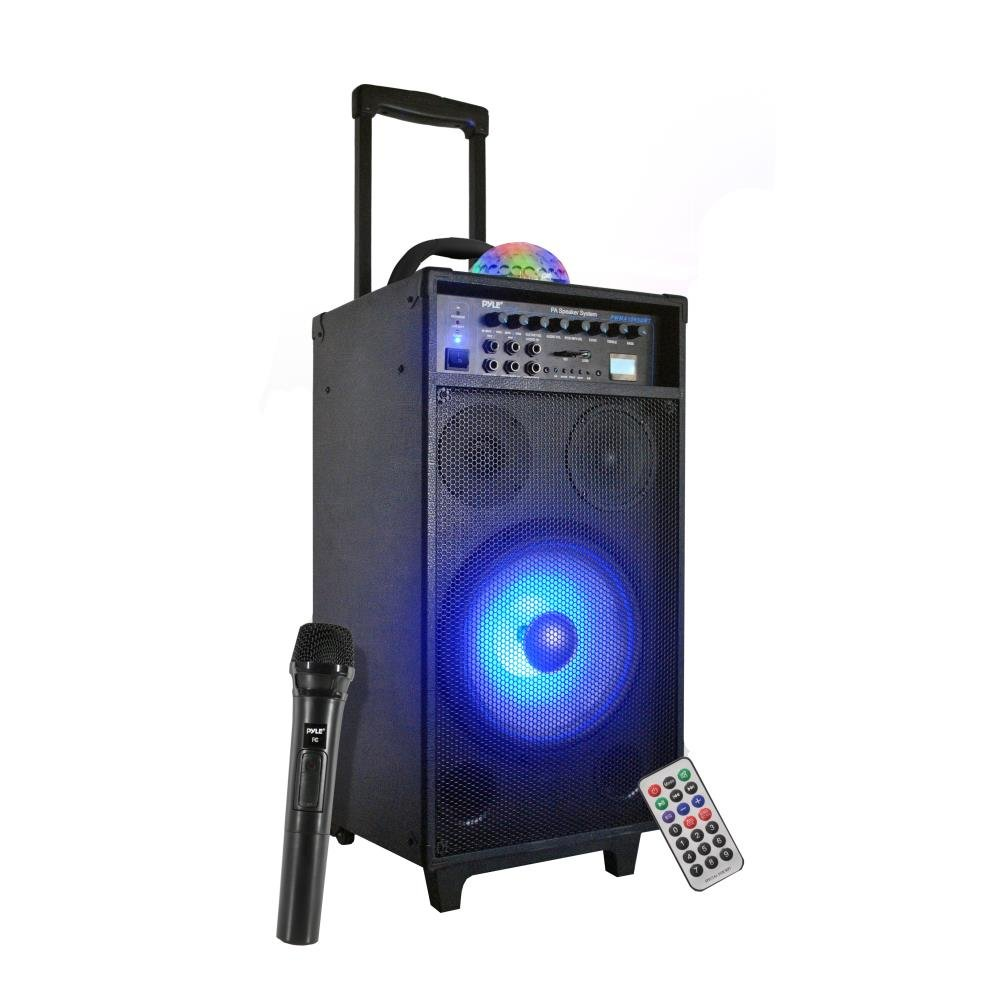 Pyle PA Speaker System, Portable Loudspeaker, DJ Speakers, Rechargeable Battery, FM Radio, Bluetooth Music Streaming, MP3, USB, SD Card - Readers, Karaoke, Crowd Control, Stage, Black (PWMA1095UBT)