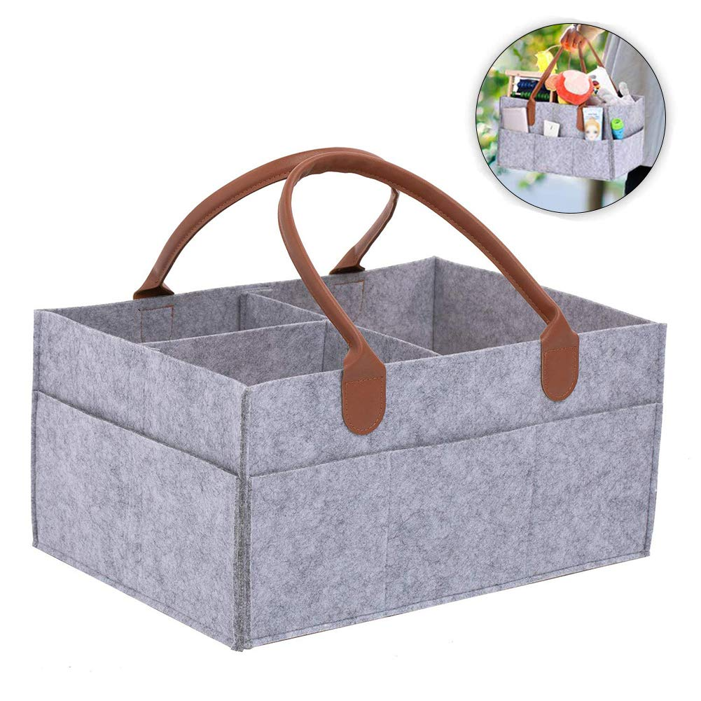 BESTEU Diaper Organiser Nappy Changing Storage Bag Foldable Felt Diaper Storage Bin for Home Car Travel