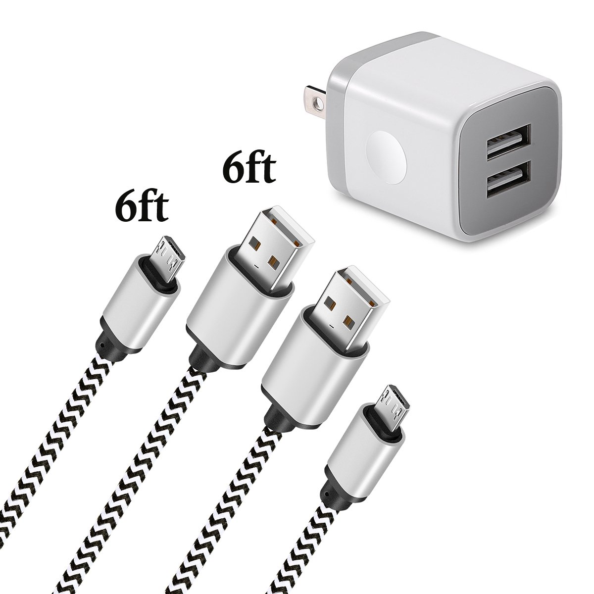 LEEKOTECH Micro USB Charger, Android Charger Cable 6FT 2-Pack with Wall Charger Plug 2.1A/5V Braided Cord for Samsung Galaxy S6/S7 Edge, J3 J5 J7, Note 5/4, Moto G5/G4 Plus, More Cell Phone